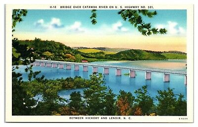 Mid-1900s Bridge over Catawba River between Hickory and Lenoir, NC Postcard