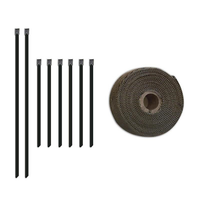 Thermal Protection Exhaust Heat Wrap 35ft Kit with Steel Locking Ties (1313)