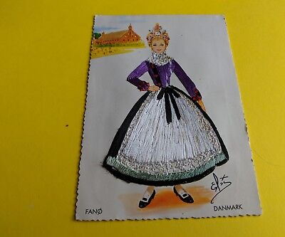 Embroidered Vintage Postcard. DENMARK. Collectible Continental Size.