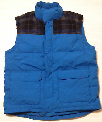 Nwt Roots Mens Large Claremont Puffa Down Winter Vest Thompson Blue With Plaid