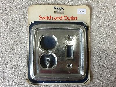(H-53) NOS Vintage Brass - Silver Tone Metal Light Switch and Dual Outlet Cover