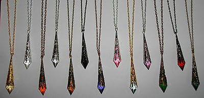 """Gothic Long Filigree Teardrop 18"""" & 20"""" Necklaces - 6 Metals & 15+ Bead Colours!"""