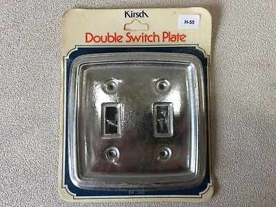 (H-55) NOS Vintage Brass - Silver Tone Metal Dual Light Switch Cover