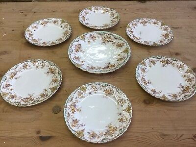 Set 6 Victorian Bridgwood Dinner Tea Party Plates And Serving Plate Blue Floral