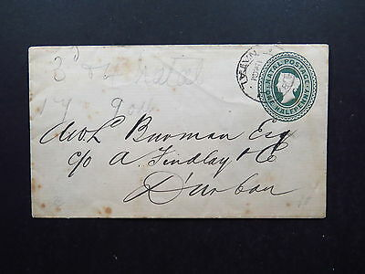 Old Cover Natal Postage One Halfpenny to Durban South Africa 1901? 1904?