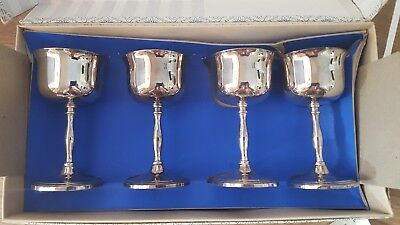 """4 Silver Plated Cavalier Wine Cups Sherry Goblets Box Set Vintage 6"""" inch"""