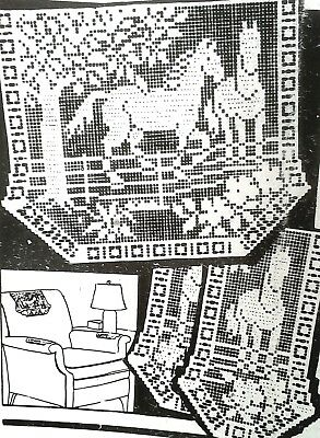 3264 Vintage Mail Order FILET HORSES CHAIR SET Pattern to Crochet (Reproduction)