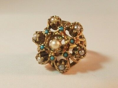 VTG 1960s Ring Yellow Gold 18K Electroplate Victorian Style Turquoise Pearl HMS
