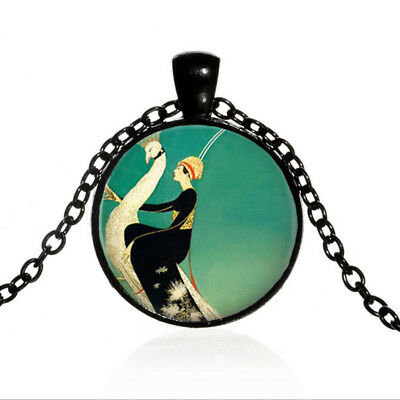 Woman and White Peacock Black Dome glass Art Photo Chain Pendant Necklace