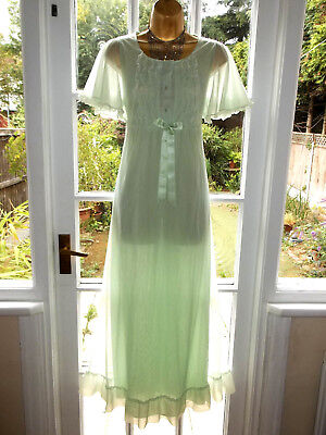 """Vintage 60s/70s Double Layer Frilly Nylon Nightie Nightdress Gown 36"""" Tall Girl"""