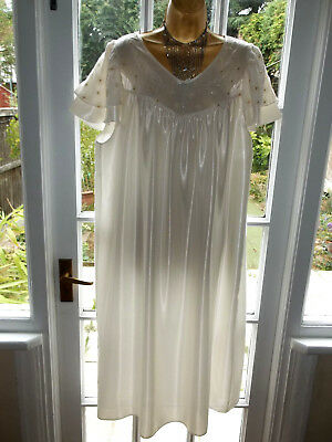 Vintage 1980s Slinky Liquid Satin Embroidered Nightie Nightdress Gown UK20-22