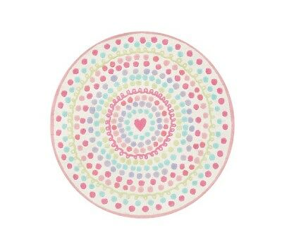 pottery barn kids Heart Dot 5' round wool rug,pink brand new Authentic Whimsical