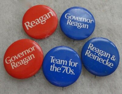 (5) Five Vintage Ronald Regan Small For Governor Campaign Buttons