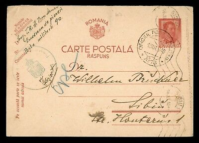 Dr Who 1940 Romania Postal Card Stationery Censored C39069