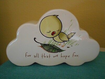 """Kurt Halsey Bird """"FOR ALL THAT WE HOPE FOR"""" Ceramic """"Cloud"""" Coin Bank"""