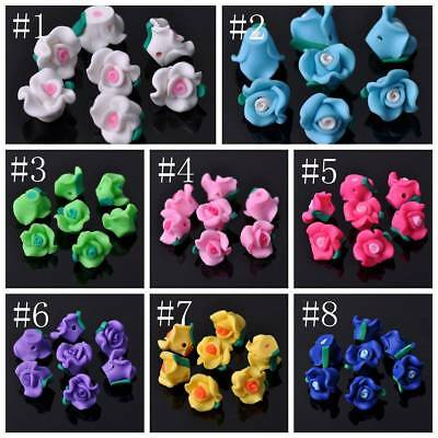 20pcs 12x9mm Polymer Clay Rose Flowers Shape Loose Spacer Beads Jewelry Findings