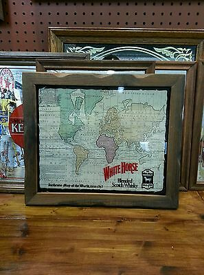 """Vintage """"WHITE HOUSE MAP OF THE WORLD""""  bar advertising whiskey sign."""