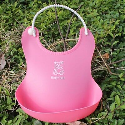 PINK Soft Waterproof Silicone Baby Bib with Pocket