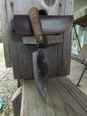 "Jeff White Mini Bush Hand Crafted 4"" Blade Knife and Full Leather Sheath"