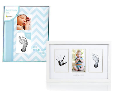 Maven Gifts: Pearhead Chevron Baby Book with Clean-Touch Ink Pad, Blue with Pear