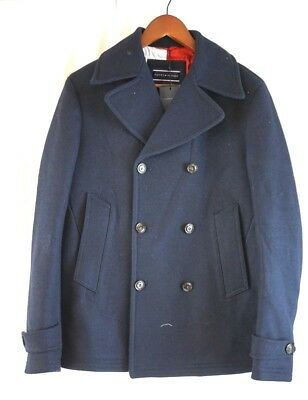 NWT TOMMY HILFIGER Men's Navy Blue Double Breasted Jersey Peacoat Small S