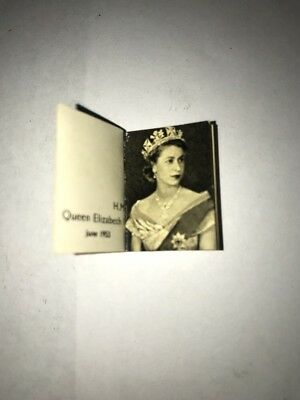 """Her Majesty Queen Elizabeth II Miniature 1"""" Book with 15 pages 1953 Very Rare!"""