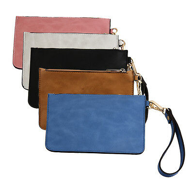 Retro Women PU Leather Messenger Wristlet Clutch Pouch Bag Purse Zip Wallet 9C0