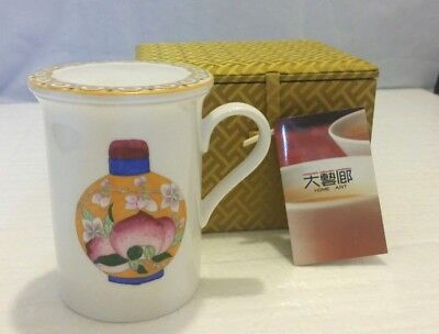 Vintage Chinese Home Art Coffee Tea Mug Cup w/ Lid & Original Gift Fabric Box