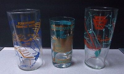 Lot of (3) Vintage Pa Turnpike Drinking Glasses Souvenirs Pennsylvania Highway