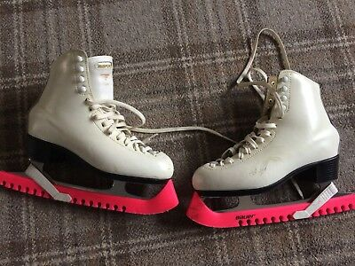 Risport Ladies White Ice Skates with Guards & Bag Size 39