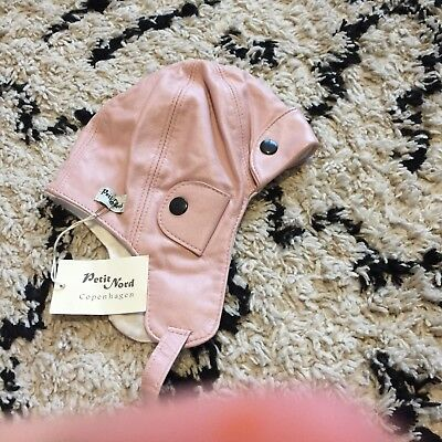 Petit Nord Pink Leather Flying Hat Scandi Style Bnwt