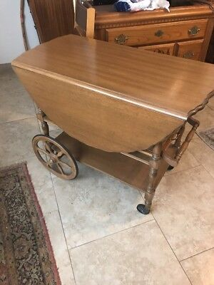 Antique Vintage Tea Beverage Cart Wood, Drop Leaf With Removable Tray And Drawer