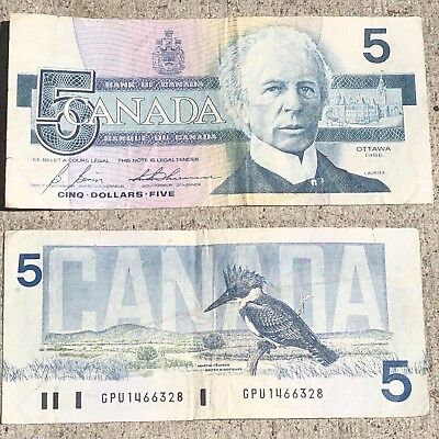 Bank of Canada Five Dollars Currency 1986 Circulated