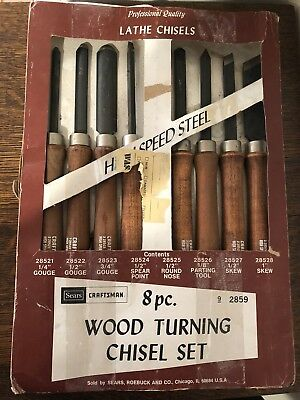 CRAFTSMAN WOOD professional LATHE CHISEL TURNING TOOLS HIGH SPEED STEEL  8Pc