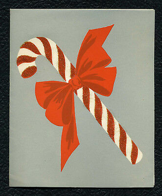 Vintage Candy Cane Christmas Card 40s Buzza Cardozo Glitter Big Red Bow