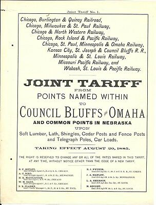 Western Freight/Others Aug Sept Oct Nov 1885 Tariffs and Circulars 10 loosepages