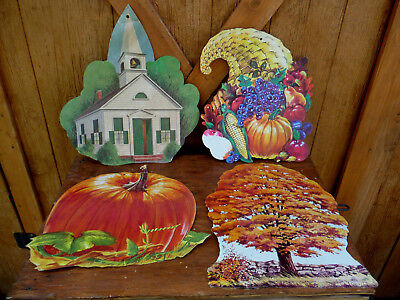 Vintage Die Cut Cardboard Autumn Fall Wall Decorations