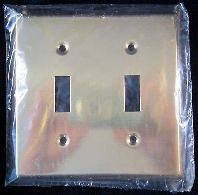 Brass Light Switch Plate Cover Double Toggle 4.5 in New Old Stock Made in Canada