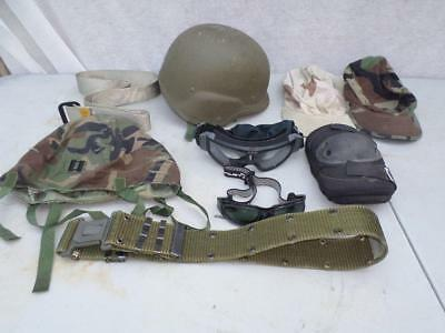 Us Military Pasgt Medium Helmet,goggles,glasses,hats,belts Cover,elbow Pads Used