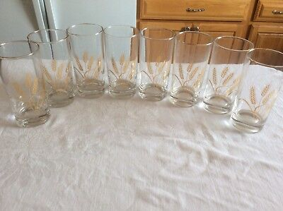 cec4fda5bae6 Set of 4 Vintage Clear Glass Tumblers with Gold Wheat Design & Rim 5 5/