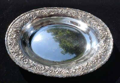 """Sterling S KIRK & SON 11"""" Oval Vegetable Bowl REPOUSSE no. 67 ~ no mono/removal"""