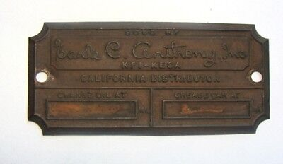 """Rare Packard """"Sold by"""" Earle C Anthony Inc Brass California Dealer Plaque Tag"""