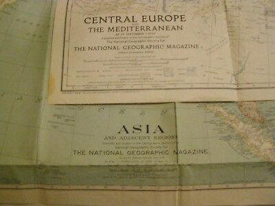 2-Vtg National Geographic Maps 1933 Asia & Adjacent Regions-1939 Central Europe