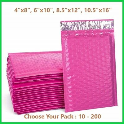 Pink Poly Bubble Mailers Shipping Mailing Padded Bags Envelopes Color *Any Size*