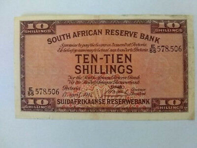 SOUTH AFRICA - 10 shilling 1941  higher grade note ( World Paper Money ) vintage