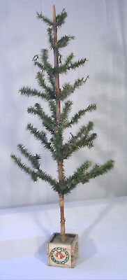 """Authentic Old Antique FEATHER TREE 42"""" Wooden Base Santa Belsnickle Era c.1900's"""