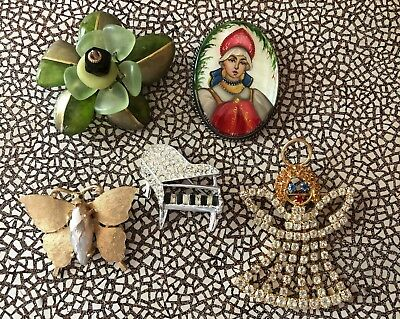 Lot 5 Vintage To Now Pins Butterfly Flower Angel All Good Pieces Starting .99