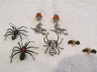 Halloween Jewelry Lot Of 4 Ring And Earrings