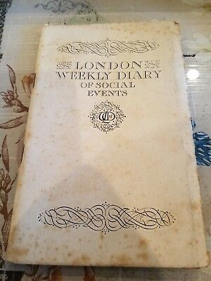 Antique 1936 London Weekly Diary Of Social Events Booklet