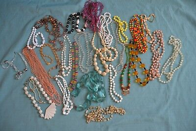 Lot of 27 Vintage To Now Mixed Material Necklaces   (C2)